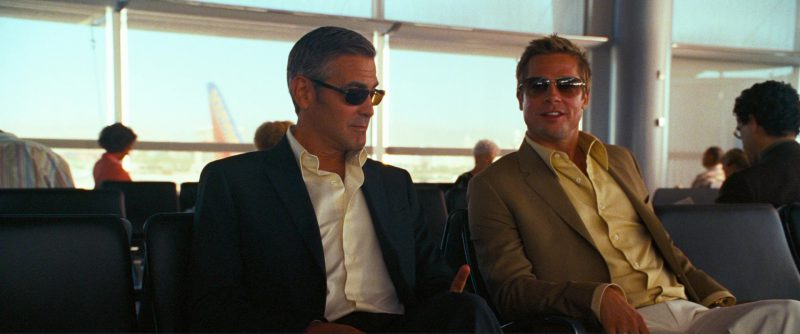 Oliver Peoples Strummer Sunglasses Worn by Brad Pitt and Persol 2157 Sunglasses Worn by George Clooney in Ocean's Thirteen (2007) - Movie Product Placement