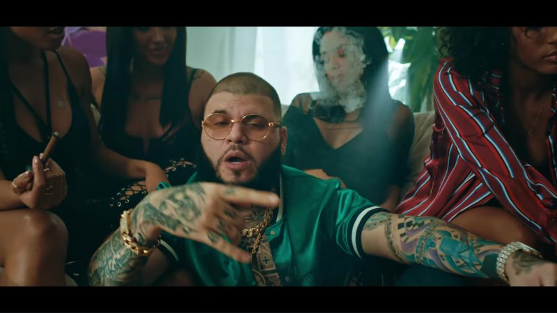 Valentino Green Men's Shirts in Krippy Kush (2017) by Farruko, Nicki Minaj, Travis Scott ft. Bad Bunny, Rvssian Official Music Video Product Placement