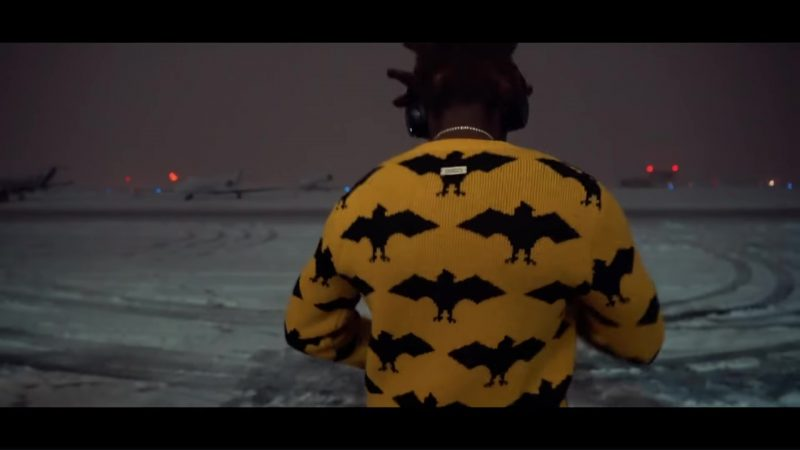 Gucci Men's Yellow Bat Crewneck Sweater Worn by Kodak Black in When Vultures Cry (2018) Official Music Video