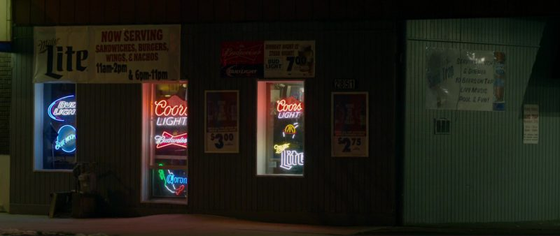 Miller Lite, Bud Light, Blue Moon, Coors Light, Budweiser and Corona Beer Neon Signs in Braven (2018) Movie Product Placement
