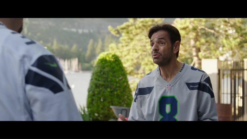 Nike Jersey T-Shirt (NFL and Seattle Seahawks) Worn by Eugenio Derbez in Overboard (2018) Movie Product Placement