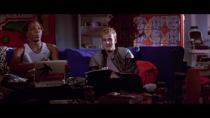 Adidas T-Shirt Worn by Laurence Mason and Supreme Sticker in Hackers (1995) Movie Product Placement