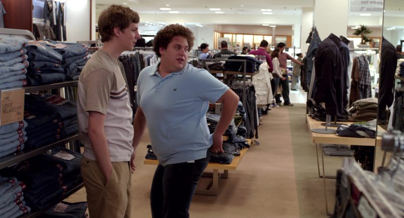 American Eagle Outfitters Blue Polo Shirt Worn by Jonah Hill in Superbad (2007) - Movie Product Placement