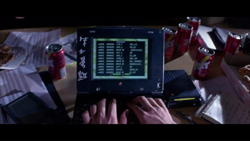 Apple Macintosh PowerBook Duo, Apple Newton MessagePad and Apple External Floppy Drive and Jolt Cola in Hackers (1995) Movie Product Placement