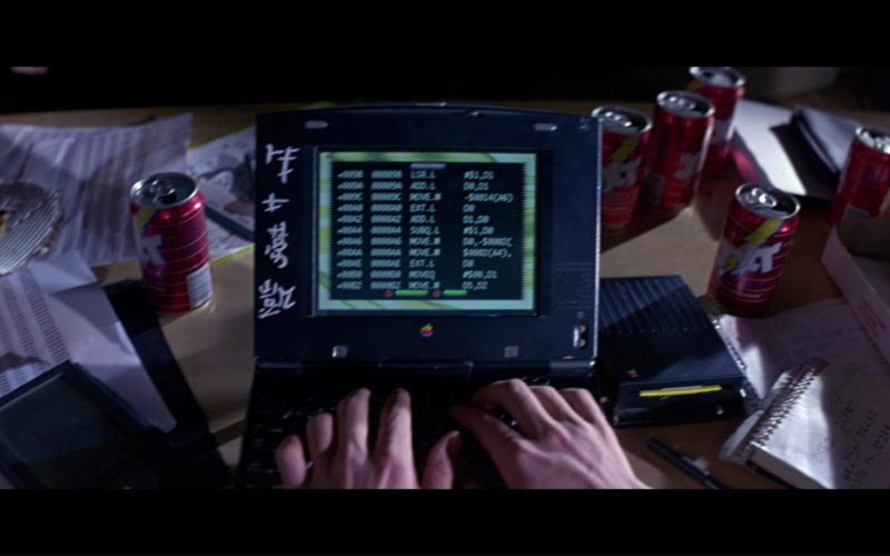 Apple Macintosh PowerBook Notebook, External Floppy Drive and Jolt Cola in Hackers (1)