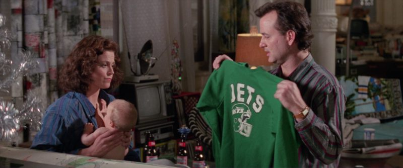 Bud Beer and Jets Green Sweatshirt in Ghostbusters 2 (1989) Movie Product Placement