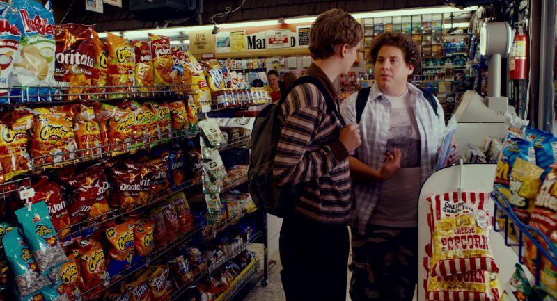 Cheetos, Doritos, Fritos, Munchies, Chester's in Superbad (2007) Movie Product Placement
