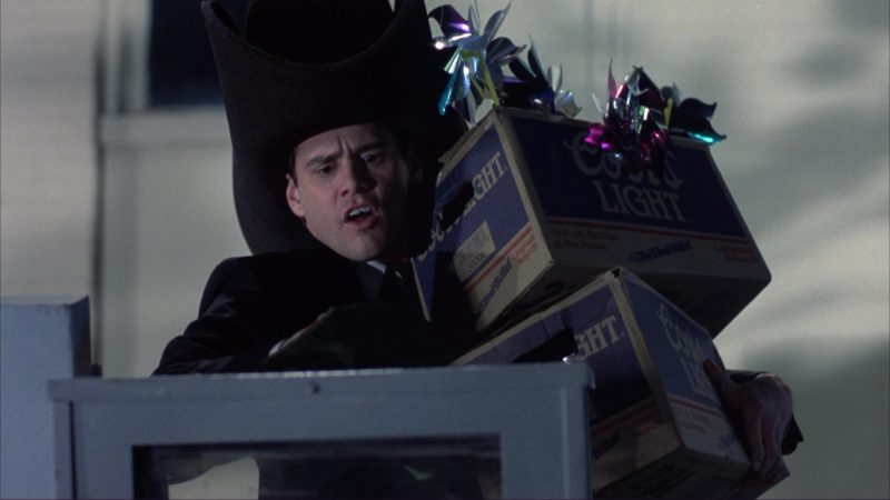 Coors Light Beer Packs (Boxes) and Jim Carrey in Dumb and Dumber (1994) - Movie Product Placement