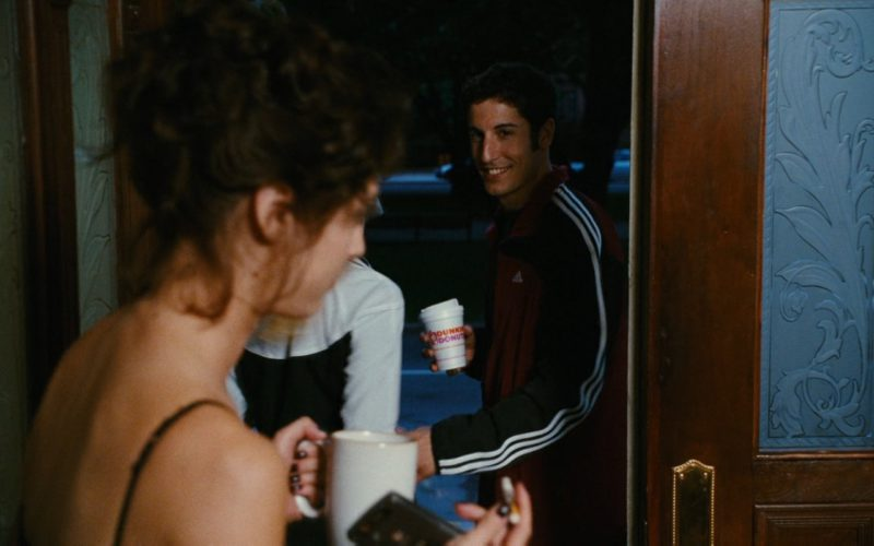 Dunkin' Donuts Coffee and Adidas Jacket Worn by Jason Biggs in My Best Friend's Girl (2008) Movie Product Placement