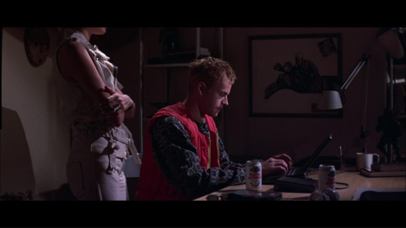 Nastro Azzurro Beer and Apple Macintosh PowerBook Duo Used by Jonny Lee Miller in Hackers (1995) Movie Product Placement