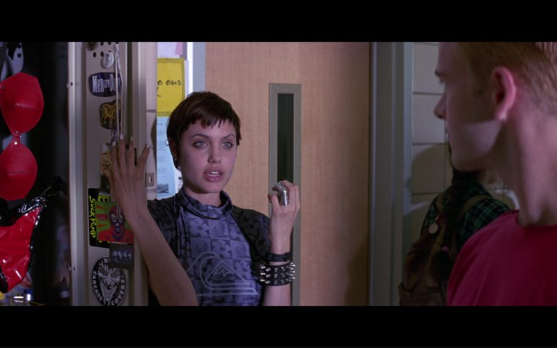 Quiksilver Grey Turtleneck T-Shirt Worn By Angelina Jolie in Hackers