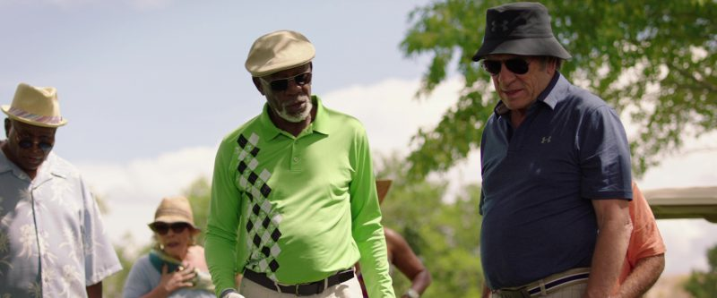 Under Armour Blue Polo Shirt And Black Golf Bucket Hat Worn by Tommy Lee Jones in Just Getting Started (2017) Movie Product Placement