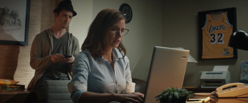 Adidas X Lakers T-Shirt and Acer Laptop Used by Jessica Chastain in Molly's Game (2017) - Movie Product Placement