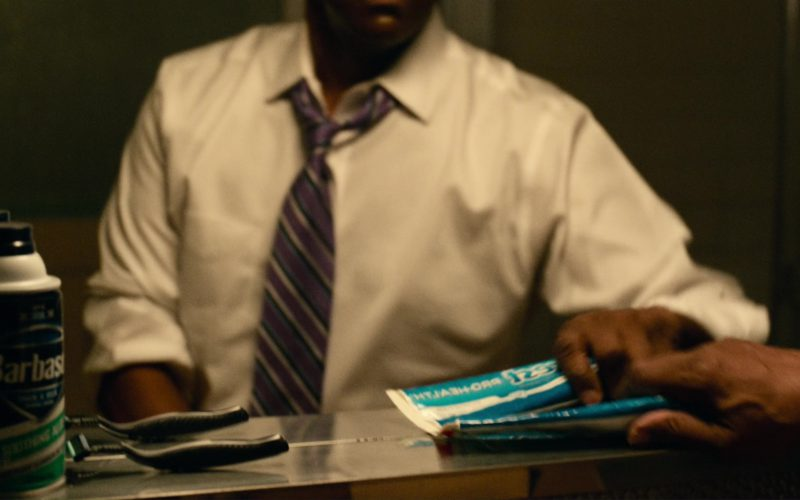 Barbasol and Crest Toothpaste Used by Denzel Washington in Roman J. Israel, Esq.