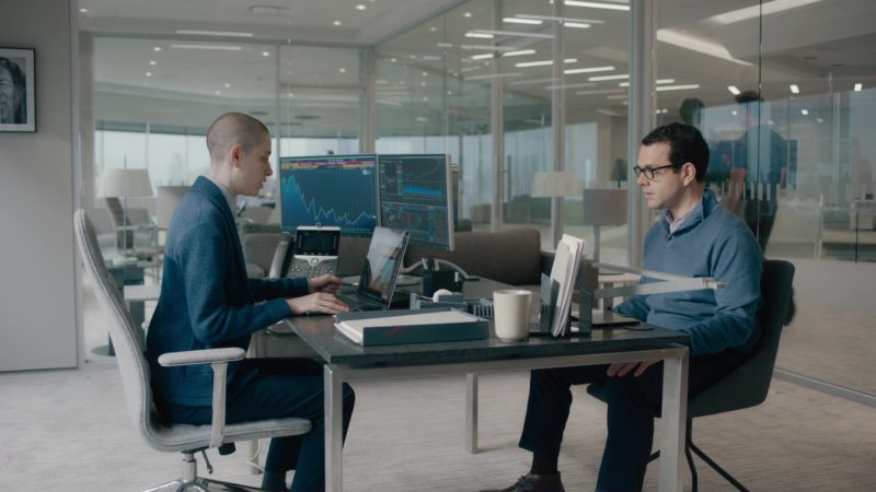 Bloomberg Terminals and Keyboard, Cisco Phone and Macbook Used by Asia Kate Dillon in Billions: The Wrong Maria Gonzalez (2018) TV Show Product Placement