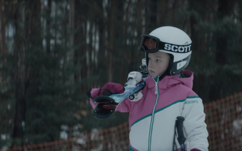 Briko Helmet, Scott Wintersports Goggles and Descente Jacket in Molly's Game