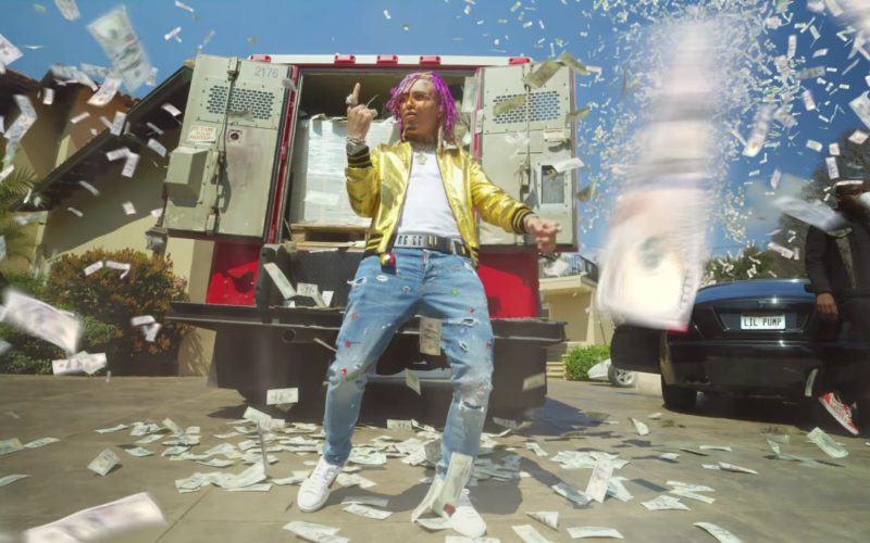 Gucci Guccy Metallic Gold Leather Jacket And Gucci Sneakers Worn by Lil Pump in ESSKEETIT (20)