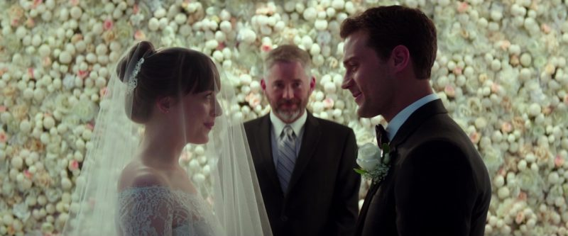 Monique Lhuillier Bridal Dress Worn by Dakota Johnson in Fifty Shades Freed (2018) - Movie Product Placement