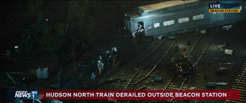 NY1 Cable News Television Channel in The Commuter (2018) Movie Product Placement
