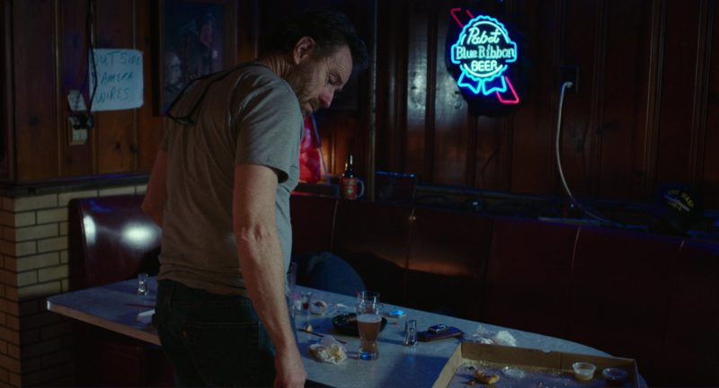 Pabst Blue Ribbon Beer Neon Sign in Last Flag Flying (2017) - Movie Product Placement