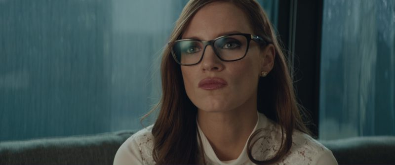 Prada Square Plastic Eyeglasses Worn by Jessica Chastain in Molly's Game (2017) Movie Product Placement
