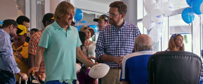 Vilebrequin Green Polo Shirt and Wilson American Football Ball Used by Owen Wilson in Father Figures (2017) Movie Product Placement