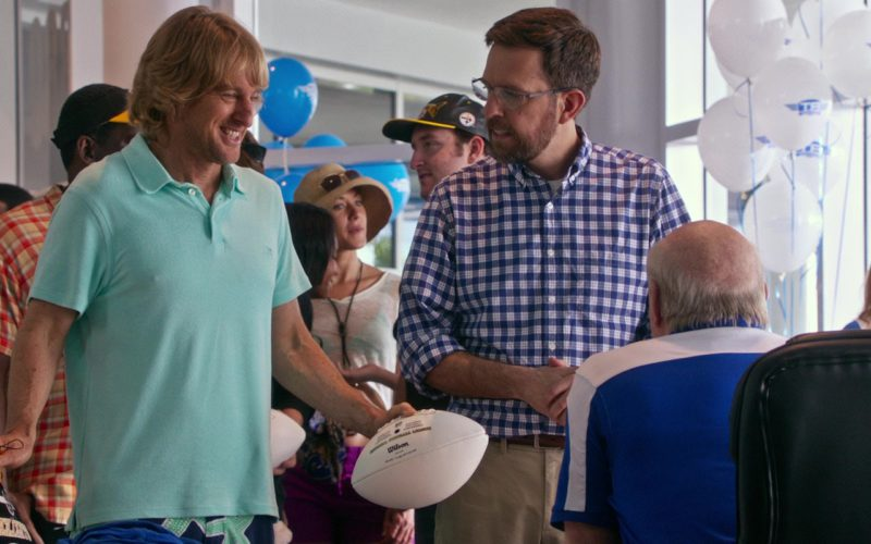 Vilebrequin Green Polo Shirt and Wilson American Football Ball Used by Owen Wilson in Father Figures (1)