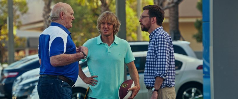 Vilebrequin Green Polo Shirt and Wilson American Football Ball Used by Owen Wilson in Father Figures (2017) - Movie Product Placement