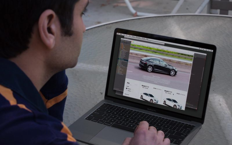 Apple MacBook Pro and Tesla Website in Silicon Valley (1)