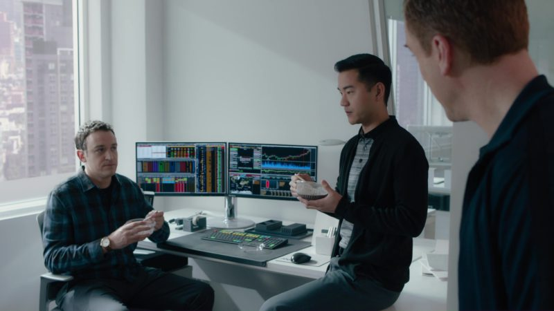 Bloomberg Terminals and Keyboard Used by Dan Soder in Billions: Not You, Mr. Dake (2018) - TV Show Product Placement