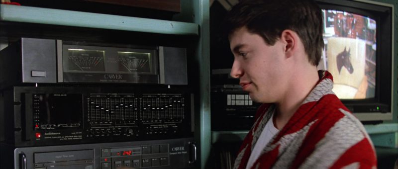 Carver Magnetic Field Power Amplifier and AudioSource EQ-One Equalizer Used by Matthew Broderick in Ferris Bueller's Day Off (1986) Movie Product Placement