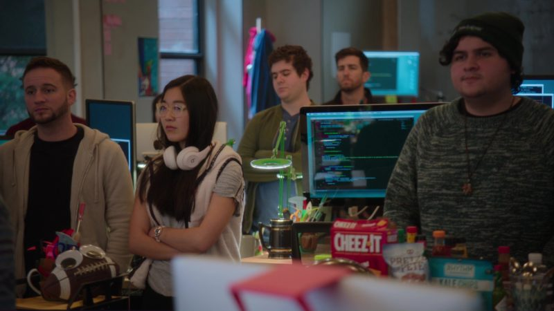 Beats Headphones, Cheez It, Pretzel Pete and Kale Chips by Rhythm Superfoods in Silicon Valley: Facial Recognition (2018) TV Show Product Placement