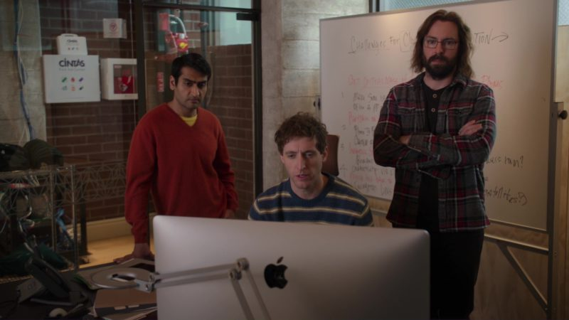 Cintas and iMac Computer Used by Thomas Middleditch in Silicon Valley: Facial Recognition (2018) TV Show Product Placement