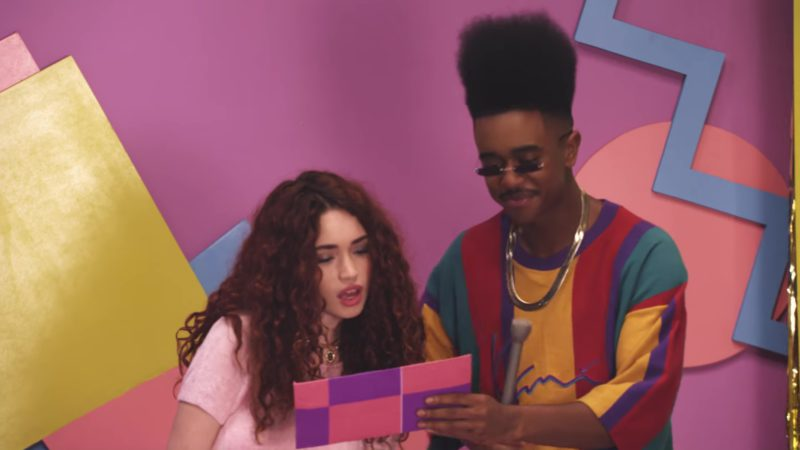 Karl Kani Vertical Blocked Tee Worn by TV Shows Host (Brick) in Playinwitme by KYLE feat. Kehlani (2018) Official Music Video Product Placement