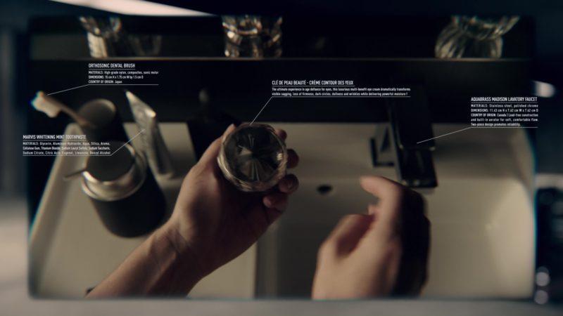 Marvis Toothpaste, Clé de Peau Beauté, Aquabrass in Anon (2018) - Movie Product Placement