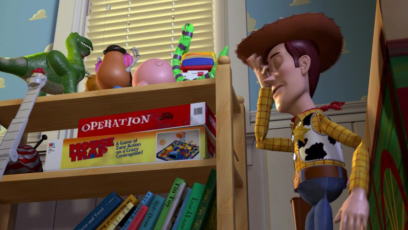 Milton Bradley Operation Skill Game and Mouse Trap Game in Toy Story (1995) Animation Movie Product Placement