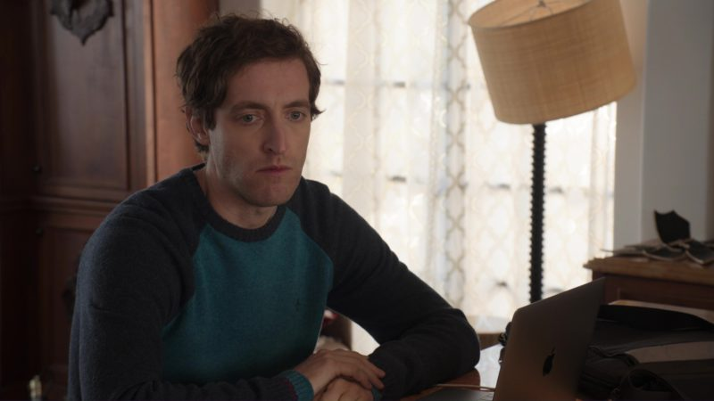 Original Penguin Sweater And MacBook Laptop Used by Thomas Middleditch in Silicon Valley: Fifty-One Percent (2018) - TV Show Product Placement