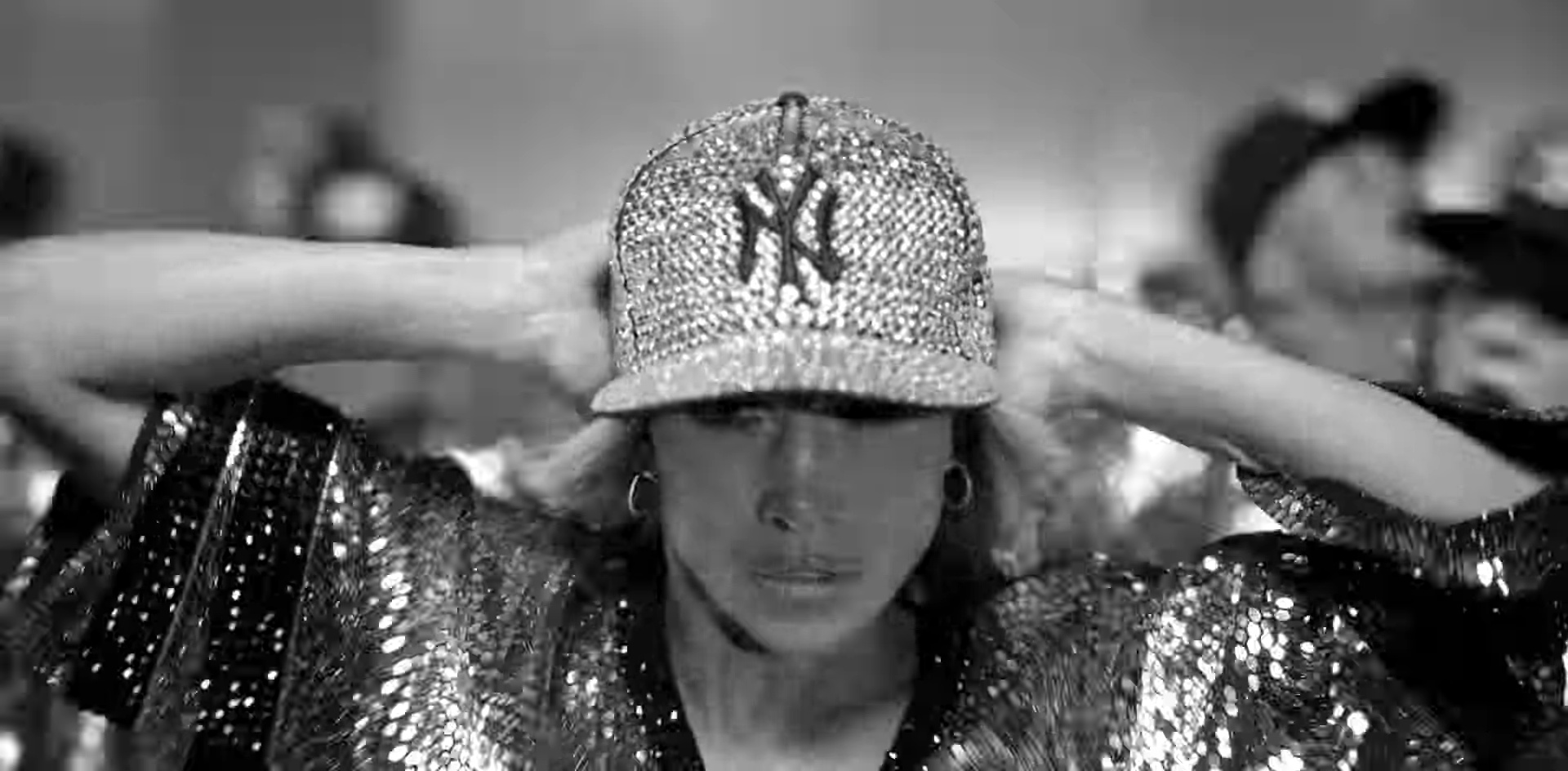 13773a970f1382 Sequin New York Yankees Cap Worn by Jennifer Lopez in Dinero ft. DJ Khaled,
