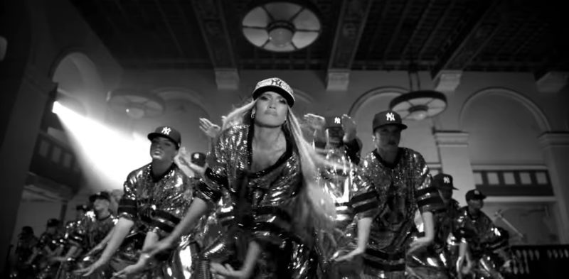 Sequin New York Yankees Cap Worn by Jennifer Lopez in Dinero ft. DJ Khaled, Cardi B (2018) Official Music Video Product Placement