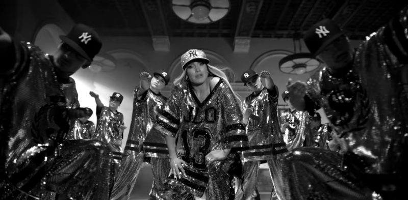 Sequin New York Yankees Cap Worn by Jennifer Lopez in Dinero ft. DJ Khaled, Cardi B (2018) - Official Music Video Product Placement