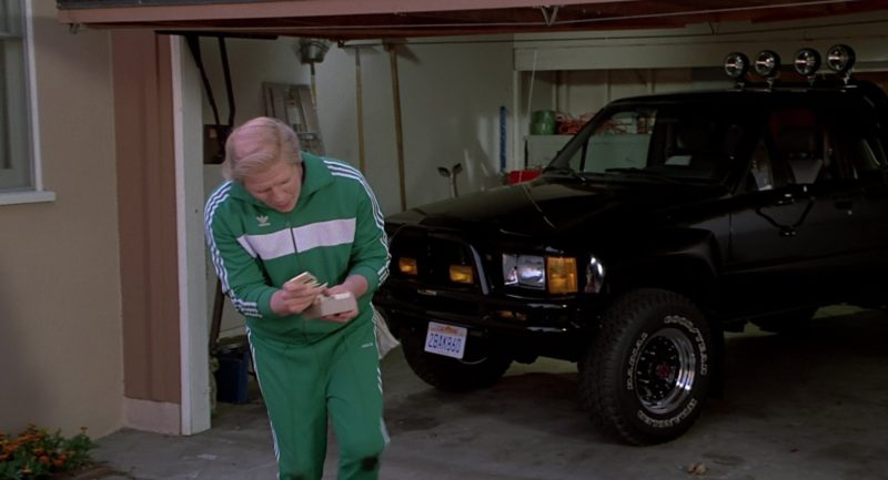 Adidas Tracksuit Worn by Thomas F. Wilson and Toyota SR5 Pickup Truck in Back to the Future Part 2 (1989) - Movie Product Placement
