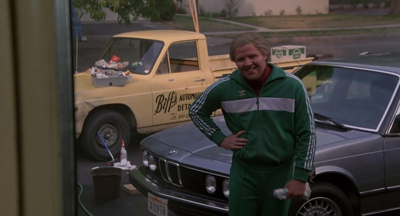 BMW 733i [E23] and Adidas Tracksuit Worn by Thomas F. Wilson in Back to the Future (1985) Movie Product Placement