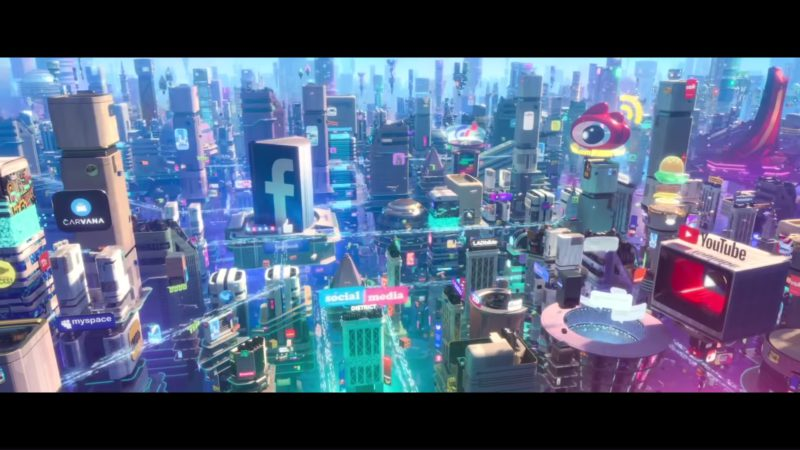 Carvana, MySpace, Facebook and Youtube in Ralph Breaks the Internet: Wreck-It Ralph 2 (2018) Animation Movie Product Placement