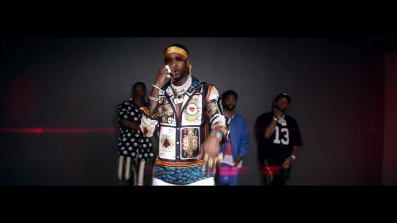 Dolce & Gabbana Playing Cards Men's Jacket Worn by 2 Chainz in Big Bank by YG ft. Big Sean, Nicki Minaj (2018) - Official Music Video Product Placement