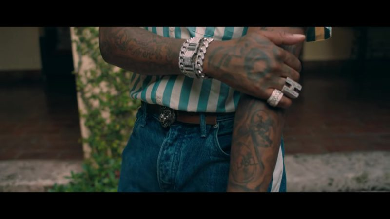 Gucci Belt With Lion Head Buckle in Narcos by Migos (2018) - Official Music Video Product Placement