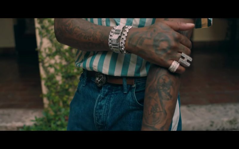 Gucci Belt With Lion Head Buckle in Narcos by Migos