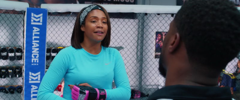 Nike Blue Long Sleeve Tee Worn by Tiffany Haddish and Alliance MMA in Night School (2018) Movie Product Placement
