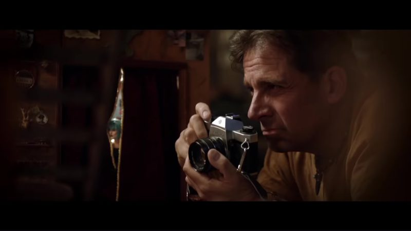 Pentax Camera Used by Steve Carell in Welcome to Marwen (2018) Movie Product Placement