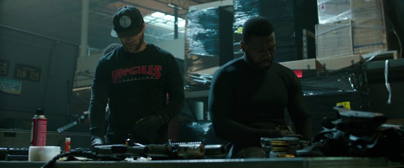 McGill's Skateshop Sweatshirt and Skeleton Key MFG Cap Worn by Evan Jones in Den of Thieves (2018) Movie Product Placement