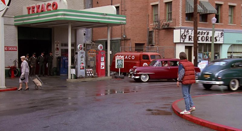 Texaco Gas Station and Nike Shoes Worn by Michael J. Fox in Back to the Future (1985) Movie Product Placement